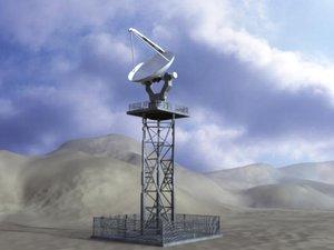 3d dish telecommunication tower communication model