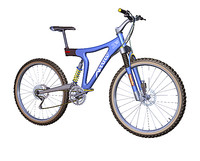 3d mountain bike blue bicycles model