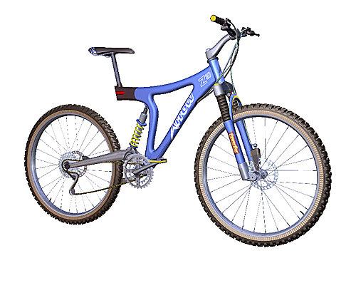 3d mountain bike blue bicycles model