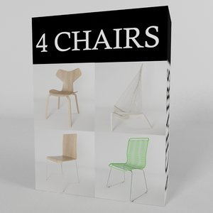 4 chairs 3d model