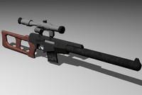vss vintorez sniper rifle 3d model