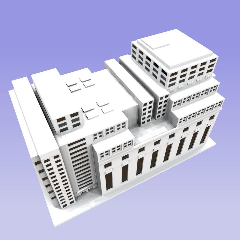 3d building modern city