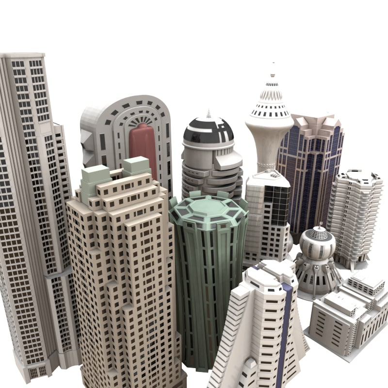 set buildings skyscrapers city 3d model