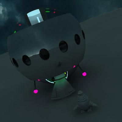 grey eyed alien ufo 3d model