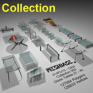 3d model glass tables -