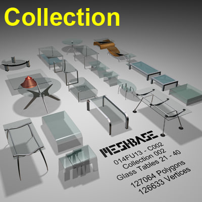 3d model glass tables -