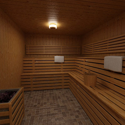sauna interior 3d model