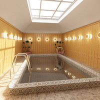 3d indoor swimming pool model