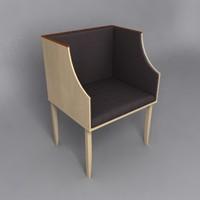 3d model saarinen maple veneer arm chair
