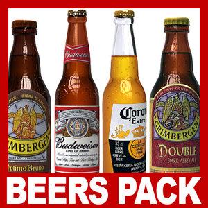 budweiser beer bottles packed 3d c4d
