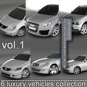 6 luxury cars audi 3d model