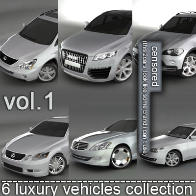 6 luxury cars audi 3d model