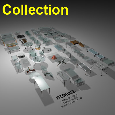3d model glass tables 001 -