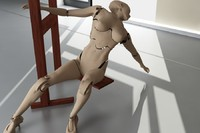 3d xray cyborg woman model