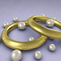 gold rings pearls 3d max