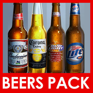 pack beer bottles 3d model