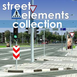 street elements traffic signs 3d max