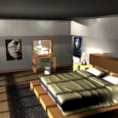 modern bedroom bed 3d model