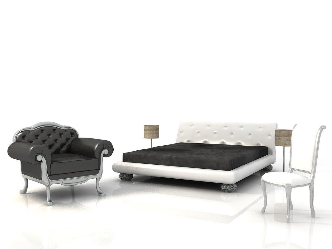 3d model classic bedroom bed armchair