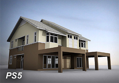 double storey residential semi-detached 3d model
