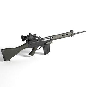 fn fal assault rifle 3d model