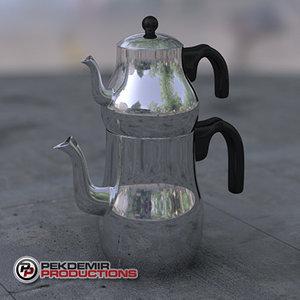 3d model steel teapot
