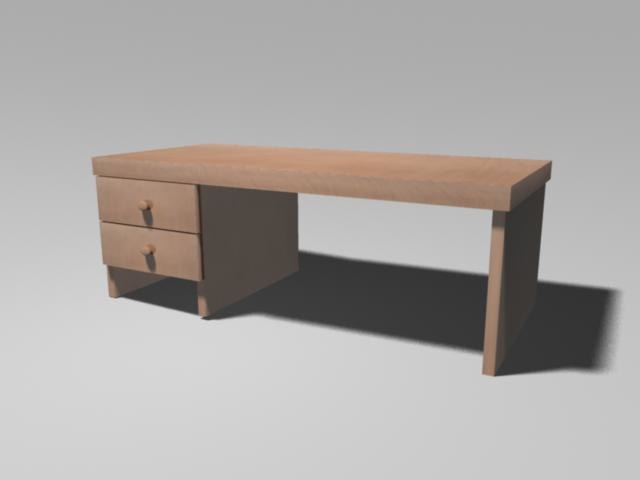 pine desk 3d ma