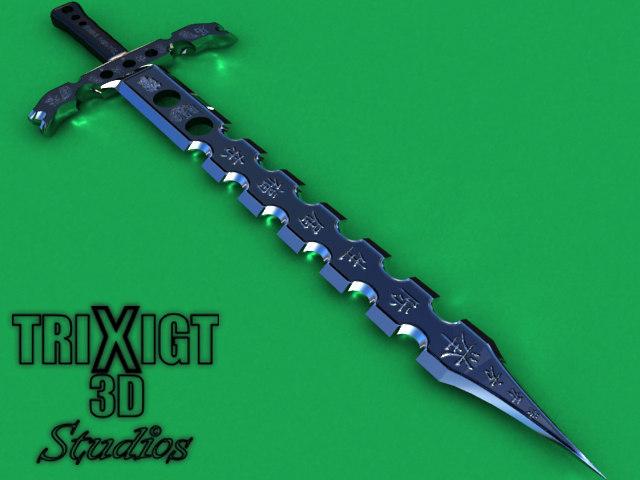 free chinese sword modern 3d model