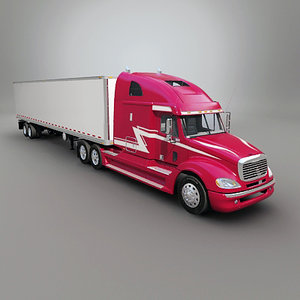 3d freightliner columbia trailer