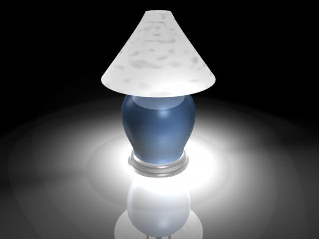 blue lamp shade 3d model