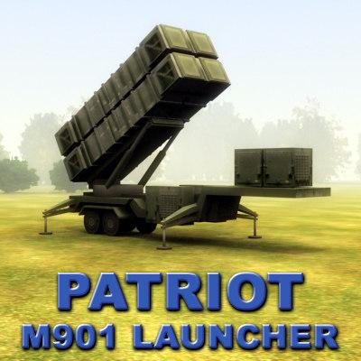 3d m901 patriot sam missile model