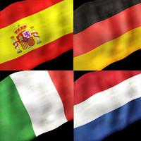 european flags eu 3d model