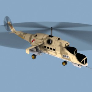 mi-24 hind helicopter 3d model