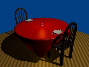 3d combo table chairs set model