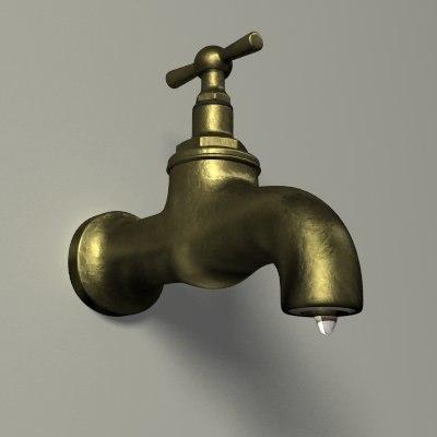 lightwave polygonal water faucet