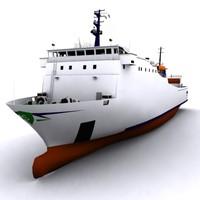 3d cargo car ferry model