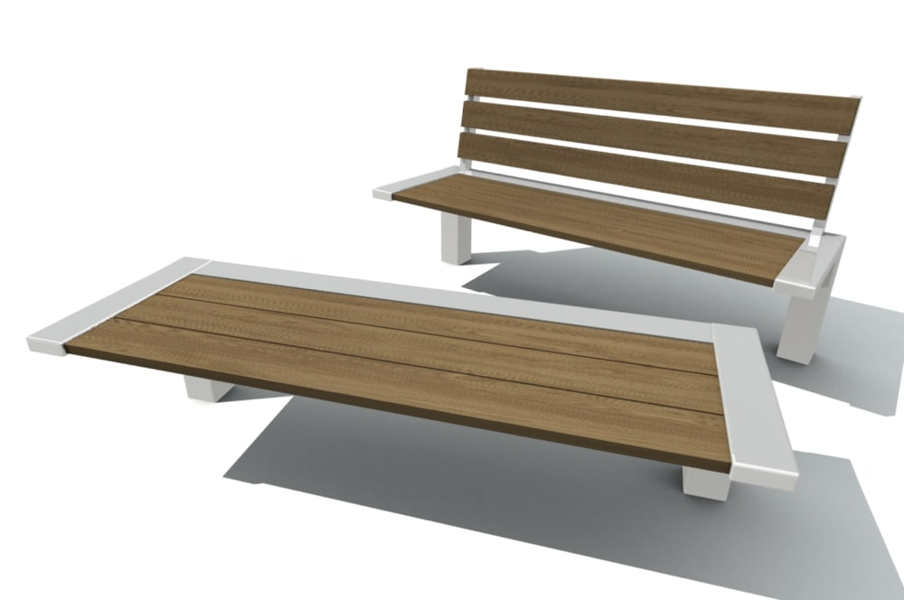3d benches outdoor model