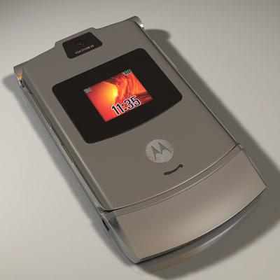 3dsmax motorola razr v3 cell phone