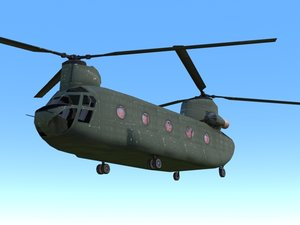 ch-47 chinook helicopter 3d max