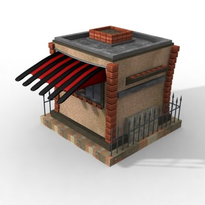 small kiosk shop 3d model