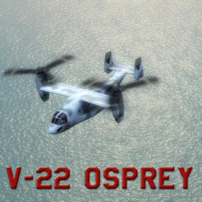 3d model v22 osprey usmc helicopter