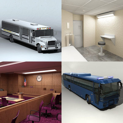 courtroom prison jail cell 3d model