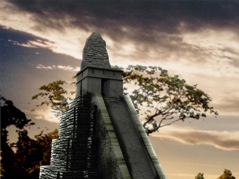 mayan pyramid tikal zipped max