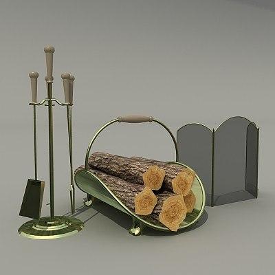 fire-place accessories 3d model