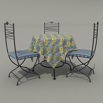 3d model of garden table