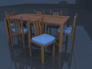 3d dinning table chairs