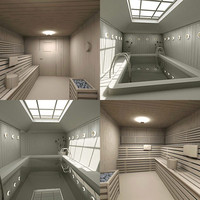 3d sauna small pool model