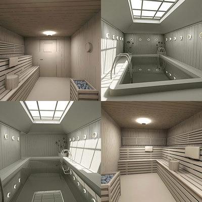 3d sauna small pool model