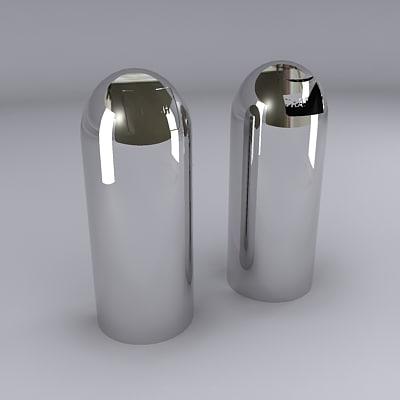 maya chrome bullet style trash cans