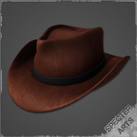 leather stetson hat 3d model